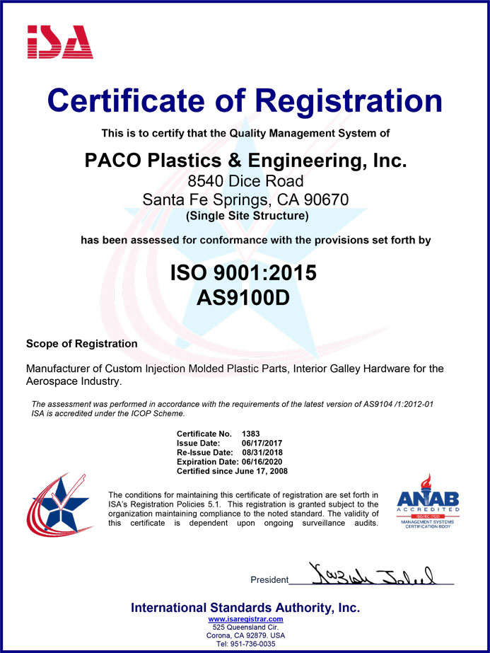 Certification of Registration - ISO 9001:2008 / AS9100 Rev D
